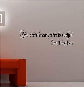 Online Design One Direction Schöne Kunst Wandaufkleber Vinyl Lounge Musik Schlafzimmer Zitat Mädchen - Schwarz -