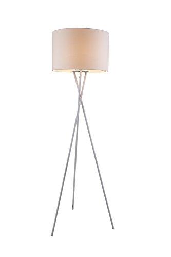 Vintage Stehleuchte mit Weißen Textil Lampen Schirm Stehlampe Standlampe Dreibein (Fassung E27, Stoffschirm, Kabel 1,8 m, Höhe 160 cm, Durchmesser 54 cm)