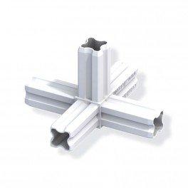 Connecteur à étoile - 90° à 5 embouts 23.5mm - Blanc pour tube alu et pvc