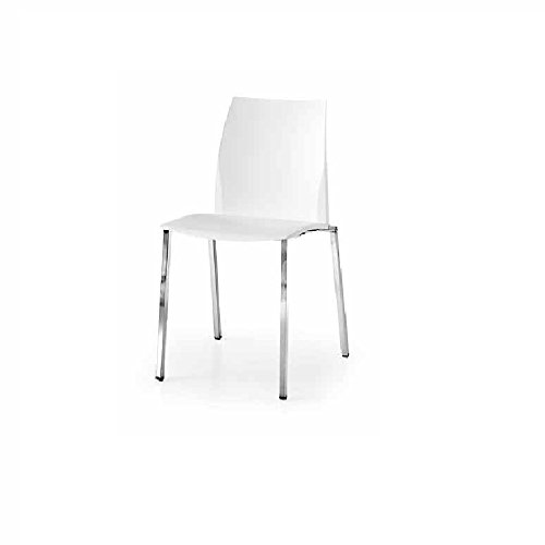 InHouse srls Paire de chaises avec Assise in Plastique et Pieds en Acier, Style Moderne