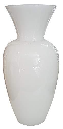 Oberstdorfer Glashütte Moderne Vase Hohe Glasvase übergroße Bodenvase in Weiss XXL Riesen Blumenvase Kristallglas Grosse Öffnung 23 cm, Höhe 60 cm, mundgeblasen