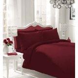 NON IRON Luxury Parcale Plain Dyed 16 Colours Duvet Cover & Pillow Cases Bed Set Free Post (Double, Burgundy)