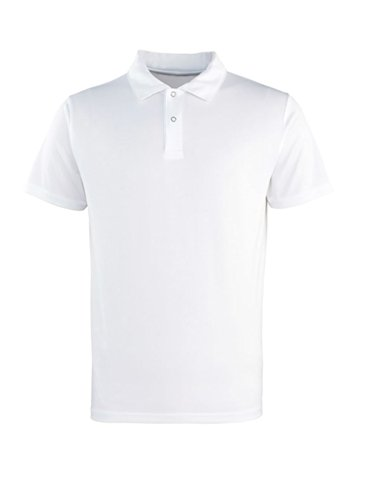 Premier Herren Coolchecker Pikee Polo-Shirt kurzärmlig m. Knöpfen Weiß XL -