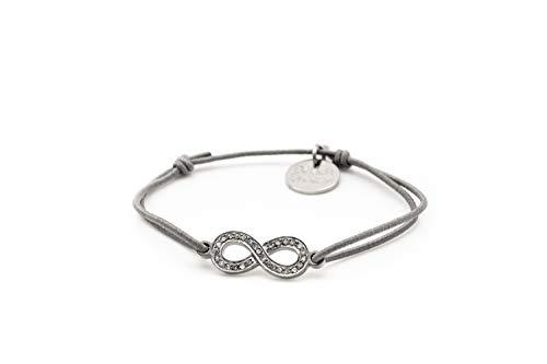 Beach Breeze Silbernes Unendlichkeit/Infinity Armband mit Strasssteinen - größenverstellbar und elastisch