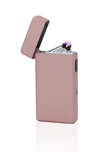 TESLA Lighter T13 | Encendedor de arco, doble arco de plasma, recargable electrónicamente, recargable con alimentación a través de USB, sin gas y gasolina, con cable de carga, en caja de regalo noble, rosa / rosa