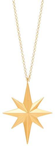 Louise Kragh Damen Halskette Gold Matt Anhänger Großer Kompass Stern aus der Serie Compass Kettenlänge 60-70 cm Silber Vergoldet - COM0101g-072160 -
