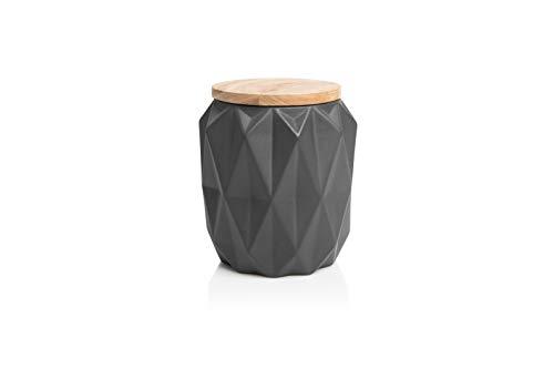 Culini - Moderne Premium Keramik Vorratsdose mit Holzdeckel - Perfekte Aufbewahrung als Zucker-, Mehl-, Kaffee-, Keksdose - Für mehr Ordnung und Frische im Haushalt