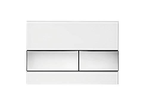 Tece 9.240.802 Square Betätigungsplatte für WC (Glas weiß, Tasten Chrom glänzend, Zweimengentechnik, bedienbar von Oben und vorne) 9240802 Square Glas