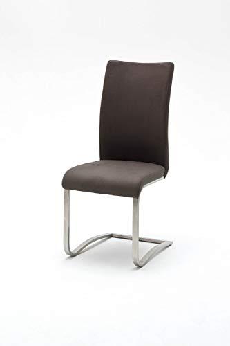 Design-Wohngalerie 2er Set Schwingstuhl Arco Antiklook - Edelstahl gebürstet & Bezug Polyester in Braun
