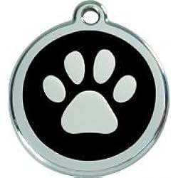 RedDingo Médaille pour chien Gravure au choix Motif patte Noir Taille S 20mm