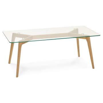 Kokoon design Table Basse scandinave rectangulaire avec Plateau en Verre trempé SCARA