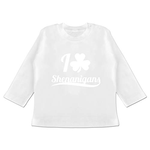 Up to Date Baby - I Heart Shenanigans - St. Patricks Day - 12-18 Monate - Weiß - BZ11 - Baby T-Shirt Langarm