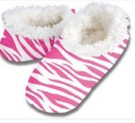 snoozies kuschelig warme Hausschuhe Zebra rosa