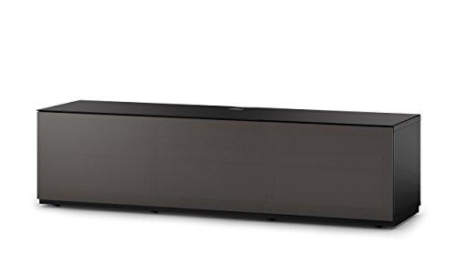 Sonorous STA 160T-BLK-OLV-BS stehende TV-Lowboard mit versteckten Rollen, schwarzer Korpus, obere Fläche, gehärtetem Schwarzglas und Klapptür mit olivfarbenem Akustikstoff
