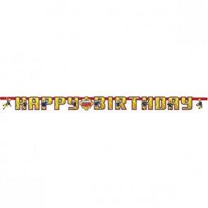 """Amscan International 99021801,6m x 13cm Buchstaben-Girlande * FEUERWEHRMANN SAM * für den Kindergeburtstag Deko mit """"Happy Birthday"""" Schriftzug Kinder Geburtstag"""