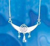 Montagna Luna a spirale con Topaz, cristallo di rocca, rettificato e argento catena Collier, in argento Sterling 925