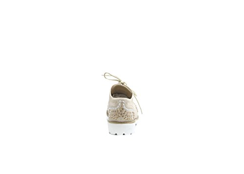 Justglam - Inglesine lacées avec / application de strass et de clous nouveau must-have collection made in Italy Beige