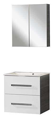 FACKELMANN Como Badmöbel Set 3 Teile/Gussmarmor Waschbecken/Waschbeckenunterschrank mit 2 Schubladen/LED Spiegelschrank fürs Bad/Soft-Close/Korpus: Schwarz/Front: Weiß/Breite: 60 cm
