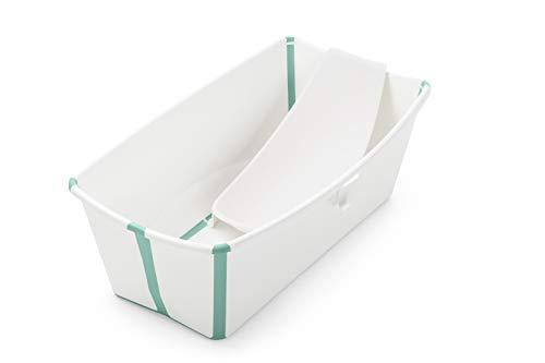Stokke Flexi Bath Bundle - Kombination aus Badewanne für Babys, Kleinkinder & Kinder & einem Newborn Support - Farbe: White Aqua