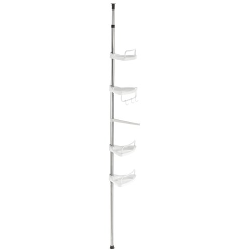 DAILYDREAM® Bad-/Duschregal mit 4 Ablageflächen und höhenverstellbaren Teleskop-Edelstahlstangen (120-300cm) in weiß