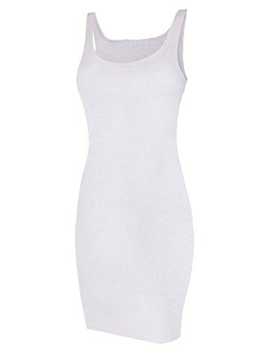 Mini Robe Moulante Courte Manches Courtes Épaules Dénudées Extensible Débardeur Maxi-Long Blanc