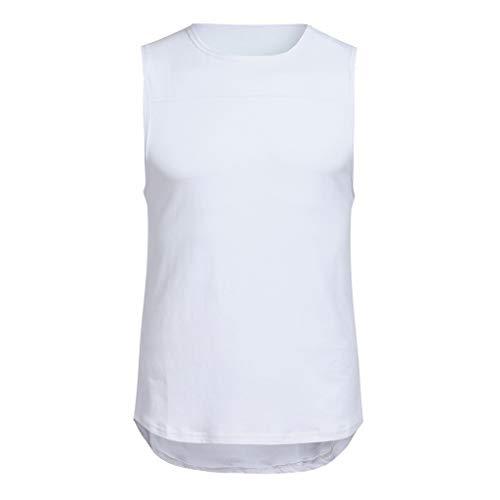 LAsimi Herren T Shirt Herren Pure Color Ärmelloses Tank Top T-Shirt Bodybuilding Sport Fitness Weste(Large,Weiß)