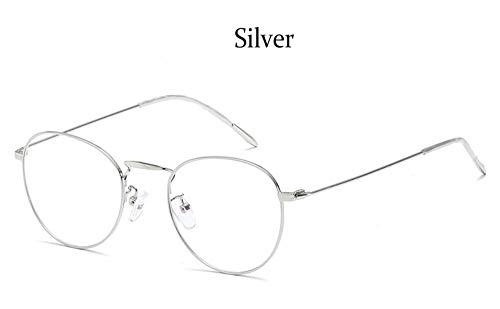 MOJINGYAN Sonnenbrillen Runde Computer Gläser Klar Gegen Blaues Licht Brillengestell Frauen Metall Anti- Reflektierende Linse Fake Brille Brillen, E