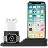 Foxnovo Stand 3 in 1 per Apple Watch, iPhone e Air Pods in Silicone atossico Compatibile con Apple Watch 4/3/2/1 AirPods e iPhone X/8/8 Plus/7 plus/6s