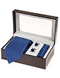 Sir Michele Blue Micro Fiber Tie, Pocketsquare and Cufflink Set