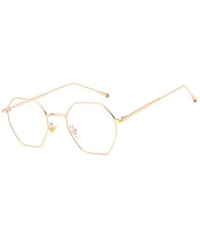 GUKOO Brille Nerdbrille Retro Rund Unisex Gold metallgestell brille