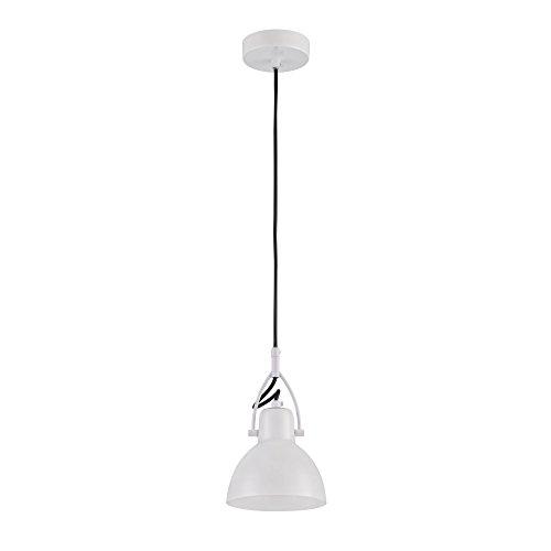 Suspension Design, 1 Lampe, Style moderne, Armature en Métal couleur blanc, abat-jour en verre blanc, pour la Cuisine, le Salon, le Séjour, bureau, sale a manger, 1 ampoule, excl. 1 E14 40W 220-240V