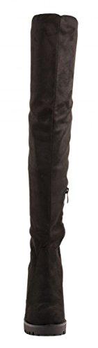 Elara Damen Stiefel | Bequeme Overknee High Heels | Blockabsatz Wildlederoptik Nero