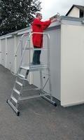 Aluminium-Podest-Treppe fahrbar 4 Stufen - 303104