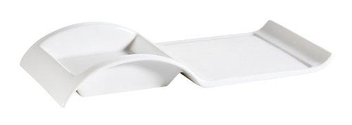 CAC China Accessories Rechteckiger Teller aus Porzellan, mit quadratischem Halter, Weiß 10-Inch by 5-Inch by 1-1/2-Inch 12-Ounce New bone white - Quadratische Weiße Teller, China