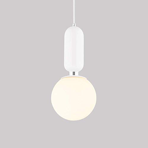 Modern LED G45 4W Hanging Lights White Glass Globe Pendant Lamp Hotel Mall Bedroom Office Restaurant Bar Dinning Room Milk Ball Round Global Suspension Light,White-20cm