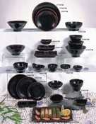 Thunder Group Tenmoku Collection 12-Pack Plate, 6-Inch, Melamine, Black