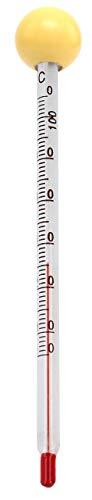 Lantelme Babyflaschenthermometer Glas Holzkugel gelb Babyflasche Babyteller Lebensmittel Analog Thermometer 6169 -