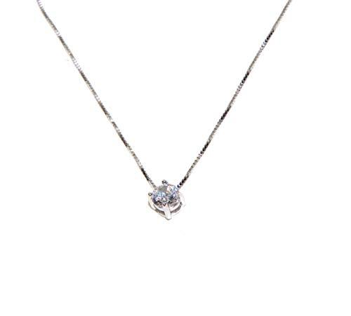 NALBORI orecchini o parure con collana uomo/donna argento 925 punto luce perno e griffe zircone bianco 5 mm (collana)