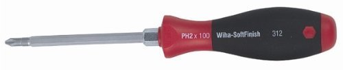 Wiha Tools 31201 Soft Finish Cushion Grip Heavy Duty With Hex Bolster Phillips Screwdriver - No. 1 x 80 mm. by Wiha Tools USA (Wiha Soft-finish)