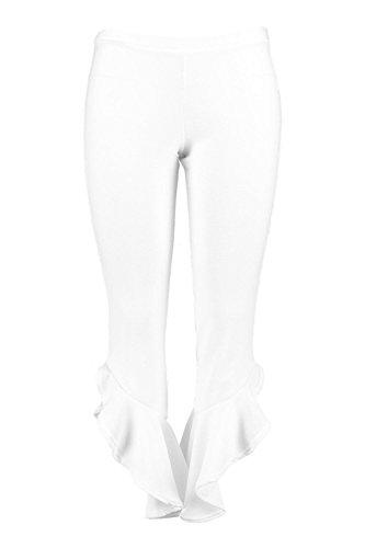 Femmes blanc Plus Liz Pantalon À Détail Volanté Blanc