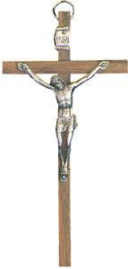 12,7cm 13cm Wandbehang aus Holz Kruzifix Kreuz mit Silber Metall Corpus Jesus