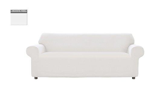 Copridivano genius tinta unita, per divano 3 posti, colore bianco 1000