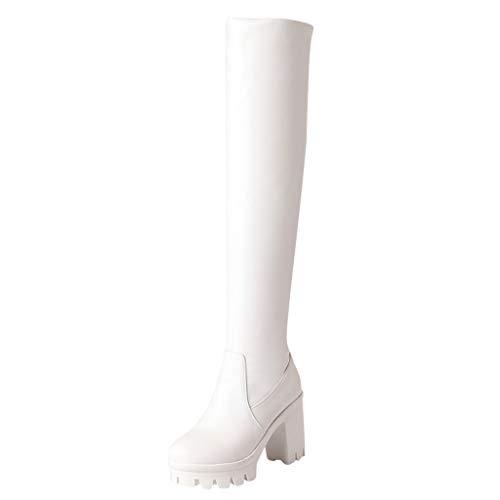 Weiße Knie Hohe Stiefel - Frauen Knie-hohe Stiefel mit Absatz Reizvolle