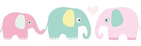 lovely label Frise murale adhésive enfant à motifs éléphant multicolore – Frise chambre enfant garçon ou fille de 450 x 11,5 cm – Décoration murale chambre bébé autocollante et non toxique, fabriqué en Allemagne