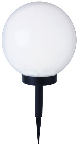 Best Season 477-78 LED-Solar-Kugel, Durchmesser 25 cm, 1 warm weiß LED, abnehmbarer Erdspieß mit Solarpanel, inklusive Akku, outdoor, Vierfarb-Karton, weiß