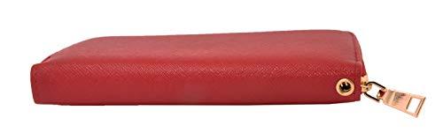 Portafoglio Donna Piccolo Elegante, Spazioso, EcoPelle Con cerniera zip Portamonete (Rosso)