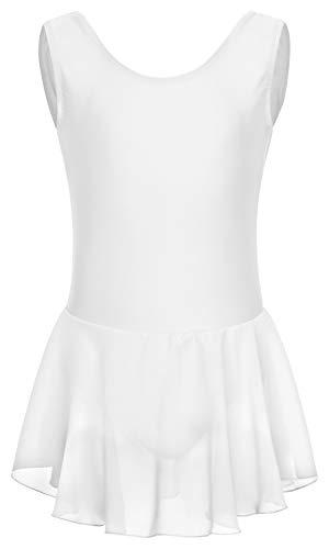 tanzmuster Kinder Ballettkleid Polly aus glänzendem Lycra mit Breiten Trägern und Chiffon Röckchen in weiß, Größe:128/134 -