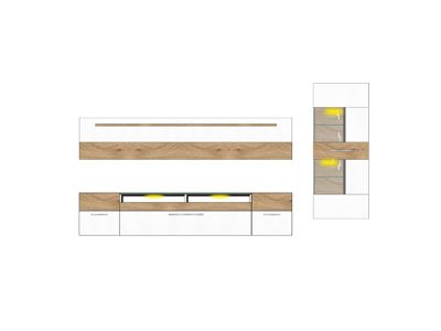 Wohnzimmerschrank, Wohnwand, Schrankwand, Anbauwand, Fernsehwand, Wohnzimmerschrankwand, Wohnschrank, weiß, Wildeiche, Beleuchtung, Soft-Close - 6