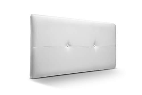 SUENOSZZZ - Cabecero de Madera Jazmin, tapizado Acolchado en Polipiel Color Blanco. Cabeceros Madera para Dormitorio | Cama Matrimonio | Cama Juvenil | Camas de 105 cm, 90 cm, 80 cm