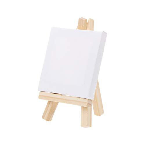 einwand und Naturholz Staffelei Set für Kunst Malerei Zeichnen Basteln Hochzeit Zubehör 01 Wood Color + White ()